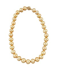 Belpearl 14K Graduated Golden Button South Sea Pearl Necklace