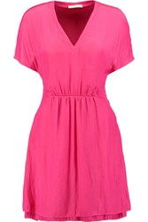 Maje Satin Mini Dress Fuchsia