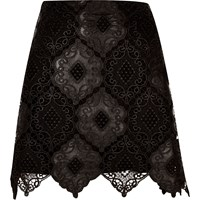 River Island Womens Black Lace Scalloped Hem Mini Skirt