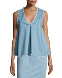 Nicholas Sleeveless Raw Edge Denim Top Blue