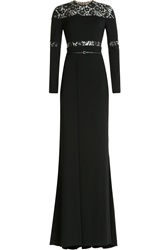 Elie Saab Floor Length Gown With Lace Black