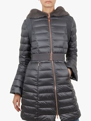 Ted Baker Yandle Bell Cuff Longline Puffer Coat Mid Grey
