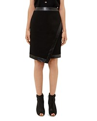 Ted Baker Poppee Leather Trimmed Skirt Black