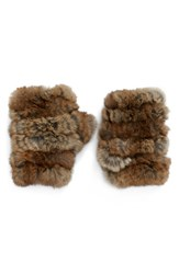 Jocelyn Women's Genuine Rabbit Fur Fingerless Mittens Natural Heather