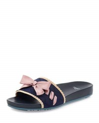 Fendi Bow Knit Slide Sandal Blue Pink
