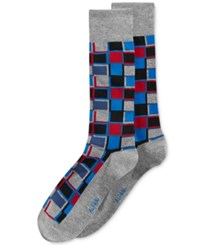 Alfani Men's Cubist Grid Socks Only At Macy's Red Black
