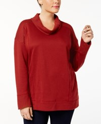 Style And Co Plus Size Funnel Neck Sweatshirt Created For Macy's Crimson Tide