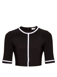Thierry Mugler Pearl Embellished Cropped Top