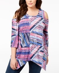 Ny Collection Plus Size Cold Shoulder Top Pink Woodpanel