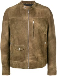 Mauro Grifoni Brushed Leather Jacket Brown