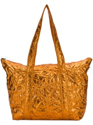 Sies Marjan Textured Metallic Tote Yellow And Orange
