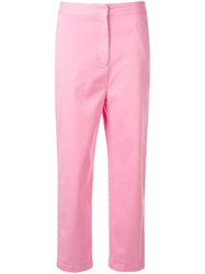 Kuho Cropped Straight Leg Trousers Pink