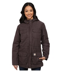 Carhartt Gallatin Coat Dark Shale Light Shale Brown Lining Women's Coat