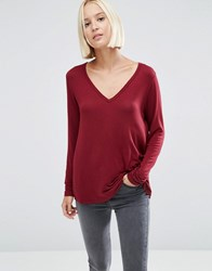 Asos The New Forever T Shirt With Long Sleeves And Dip Back Red