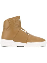 Versace 'Rap' Hi Top Sneakers Men Leather Rubber 41 Brown