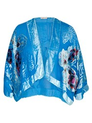 Chesca Butterfly Printed Velvet Jacket Turquoise