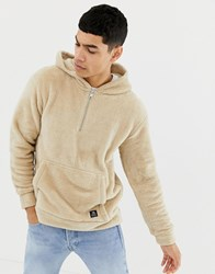 Tom Tailor Hooded Sweatshirt In All Over Borg In Off White Beige
