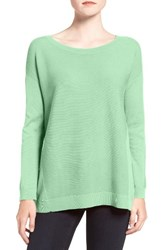 Trouve Women's Corrugated Stitch Pullover Green Zephyr