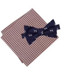 Tommy Hilfiger Men's Dog Print To Tie Bow Tie And Gingham Pocket Square Set Brown