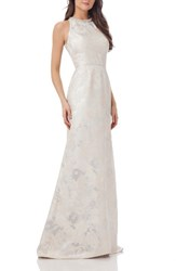 Carmen Marc Valvo Infusion Women's Embellished Brocade Gown White Silver