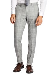 Bonobos Men's Big And Tall Jetsetter Flat Front Plaid Stretch Wool Trousers Light Grey Flannel