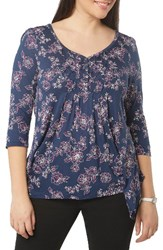 Evans Plus Size Women's Floral Honeycomb Top Navy