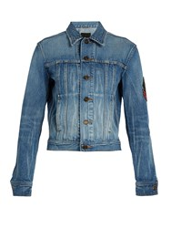 Saint Laurent Logo Patch Denim Jacket Mid Blue
