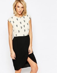 Sugarhill Boutique Panda Print Tulip Skirt Dress Creamblack