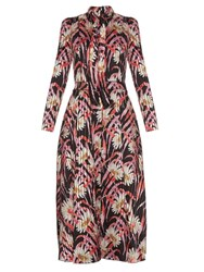Giambattista Valli Daisy Print Satin Midi Dress Black Multi