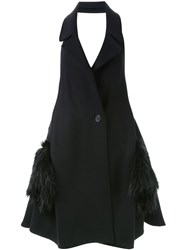 Chalayan Fur Pockets Long Vest Black