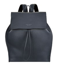 Boss Grained Leather Backpack Unisex Navy