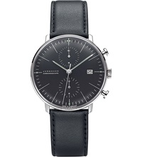 Junghans 027 4601.00 Max Bill Chronoscope Stainless Steel And Leather Watch Black