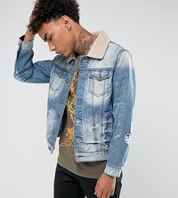 Black Kaviar Denim Jacket With Borg Collar And Distressing Blue