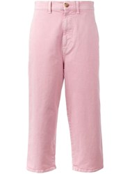 Marni Cropped Straight Leg Jeans Pink Purple