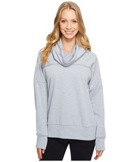 Lucy Keep Going Cowl Pullover Sleet Grey Stripe Women's Long Sleeve Pullover Blue