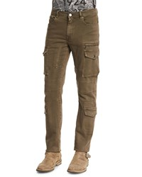 Belstaff Elbert Garment Dyed Slim Fit Cargo Jeans Slate Green