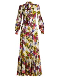 Dolce And Gabbana Primrose Print Silk Blend Charmeuse Gown White Multi
