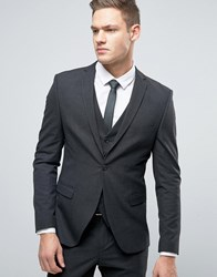 Selected Homme Super Skinny Suit Jacket In Tonic Charcoal Grey