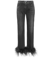 Prada High Rise Feather Trimmed Jeans Black