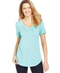 Styleandco. Style And Co. Petite V Neck Burnout Pocket Tee Only At Macy's
