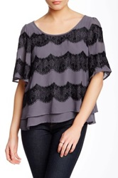 Autograph Addison Woven Lace Applique Blouse Gray