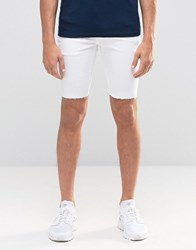 Kubban Stretch Spray On Denim Shorts In Raw Hem White
