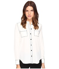 Kate Spade Contrast Stitch Silk Shirt French Cream Women's Clothing White