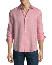 Culturata Fray Edge Linen Blend Sport Shirt Red