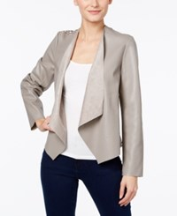Inc International Concepts Petite Lace Back Faux Leather Jacket Only At Macy's Truffle Taupe