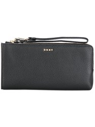 Dkny Wrist Strap Zipped Wallet Leather Metal Other Black