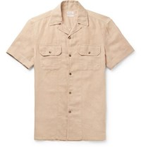 Brunello Cucinelli Camp Collar Linen And Cotton Blend Shirt Beige