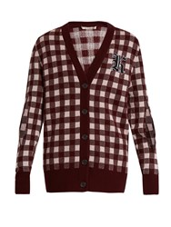 Christopher Kane Gingham Wool And Cashmere Blend Cardigan Burgundy Multi