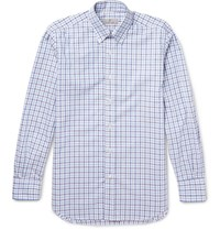 Canali Slim Fit Button Down Collar Checked Cotton Shirt Blue