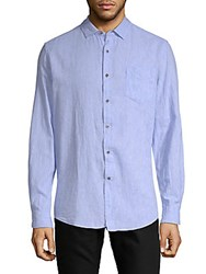 Report Collection Linen Blend Solid Sport Shirt White